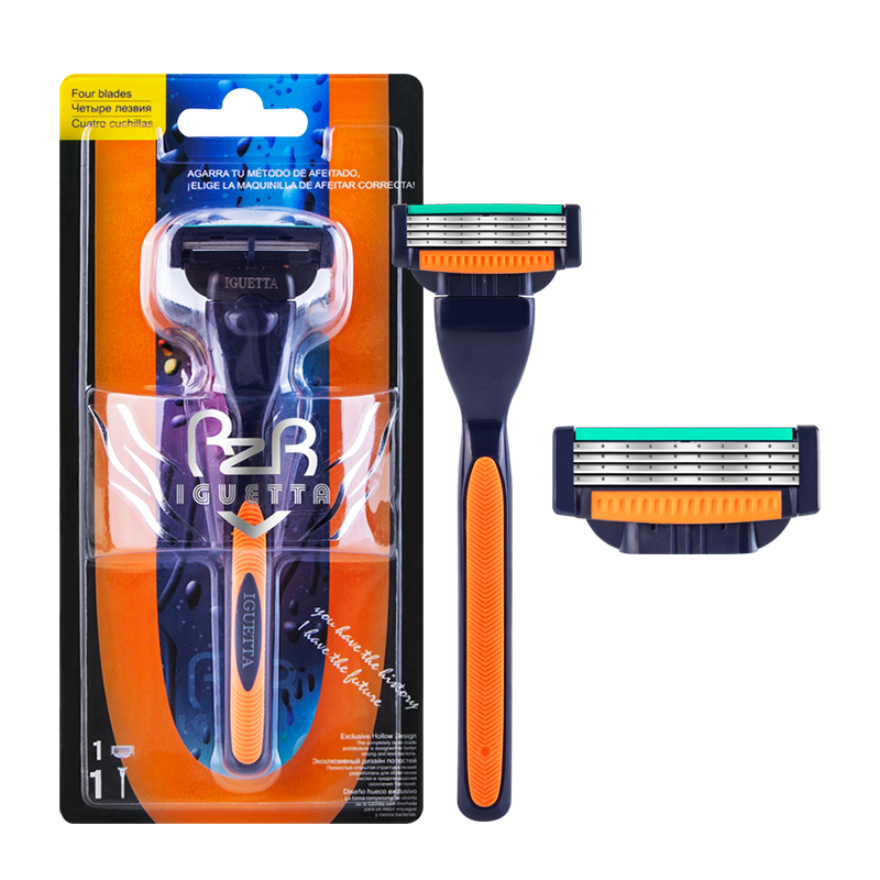 RZRIGUETTA Razor Men Quality Steel Blade 4 Layer Razor Blade Cartridge Shaving Razor For Men Beard Body Hair Remover Hollow-Out