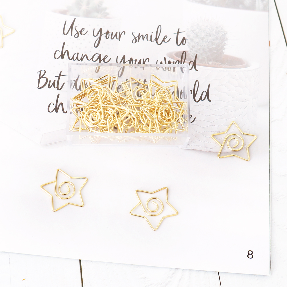 TUTU 25pcs/box Star Gold Paper Clips Bookmark Metal Binder Paper Clip Bookmark Office Statioinery School Office Supply H0375