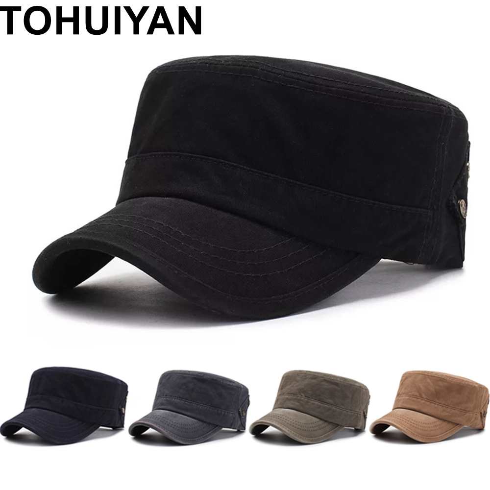 TOHUIYAN Washed Cotton Military Cap For Men Spring Summer Solid Cadet Hat Women Flat Roof Patrol Hat Vintage Adjustable Army Cap