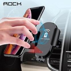 Rocha sensor infravermelho automático qi rápido sem fio carregador de telefone do carro para iphone samsung telefone do carro suporte para xiaomi huawei 10 w