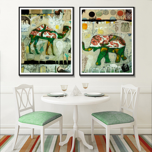 Canvas Painting Wall Art Poster And Print Camel Elephant Nordic Style Abstract Watercolor Animal Home Decoration For Living Room(China)