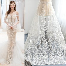 1yard High-grade sequin embroidery mesh lace fabric Luxurious vintage wedding evinging dress materials French African