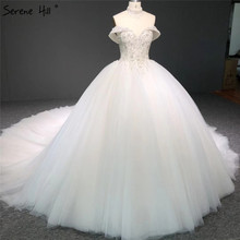 High end Ivory Sweetheart Sexy Wedding Dresses 2020 Off Shoulder Diamond Beading Bridal Gowns DHA2336 Custom Made