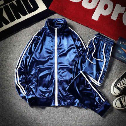 Mannen Elegante Sport Pak Mannelijke Mode Merk Koreaanse Jassen Broek Losse Grote Size Heldere Zijde Baseball Kleding Jas Set