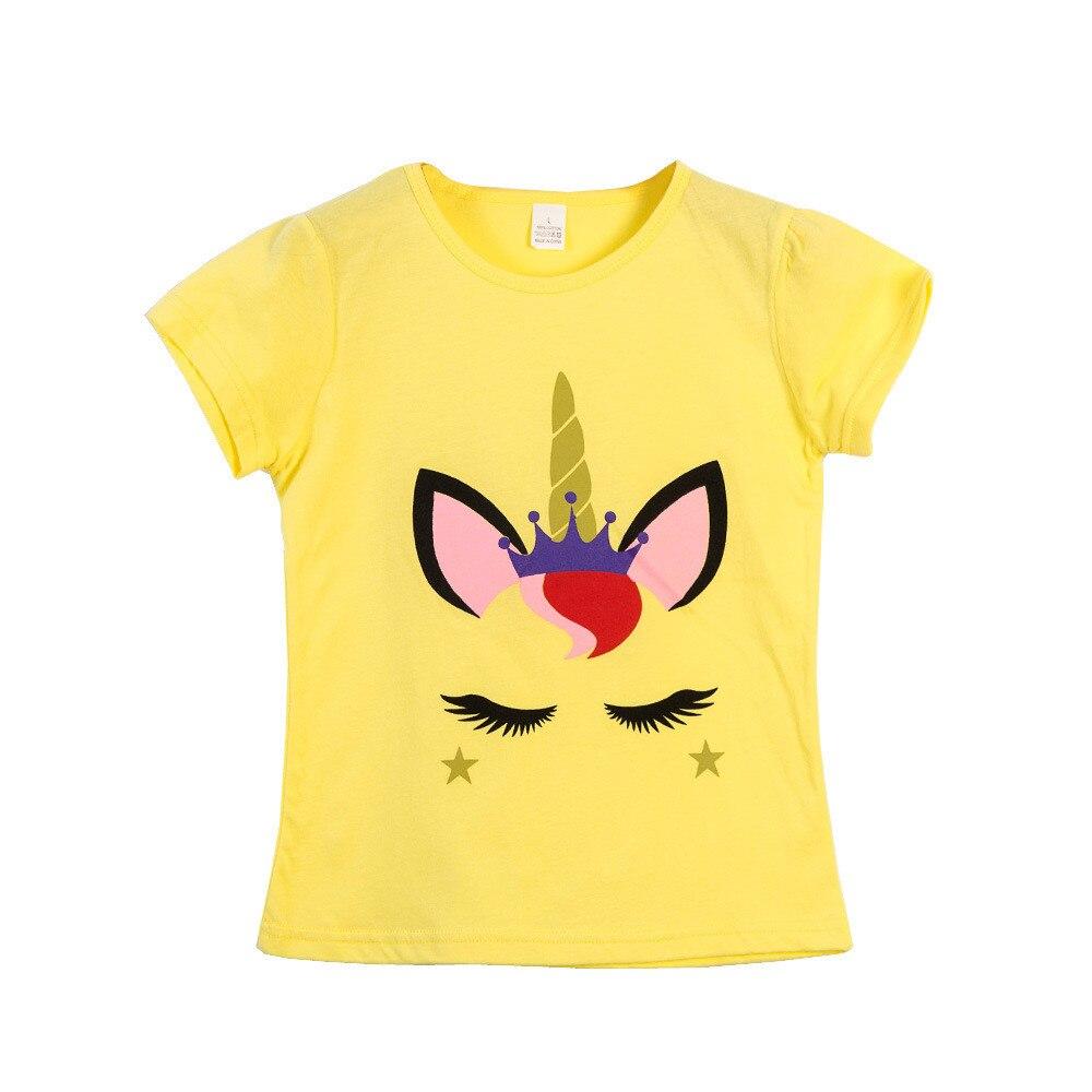 VIDMID  Children T-Shirts Cartoon Print Kids Baby girl Tops Short Sleeve T-Shirt children cotton pink t-shirts tees 4137 03 5