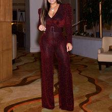 Reflective V Neck Sequins Wine Red Sexy Jumpsuit Women Night Club Party Long Sleeve Plus Size Wide Leg Long Jumpsuit Rompers(China)