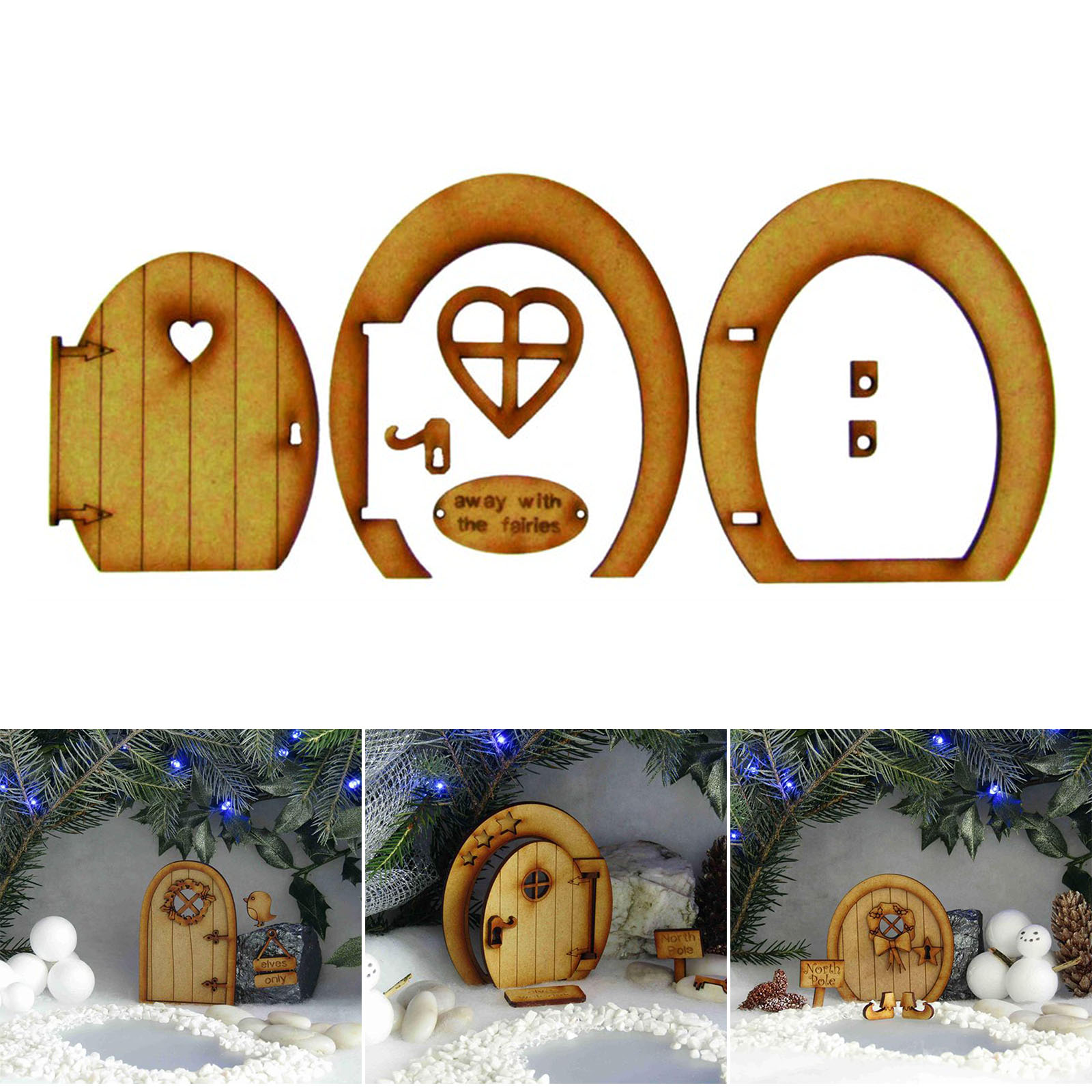 1 Set Fairy Tale Wooden Door Decoration Kit Doll House Miniature Furniture 3D DIY Crafts Ornament for Outdoor Courtyard