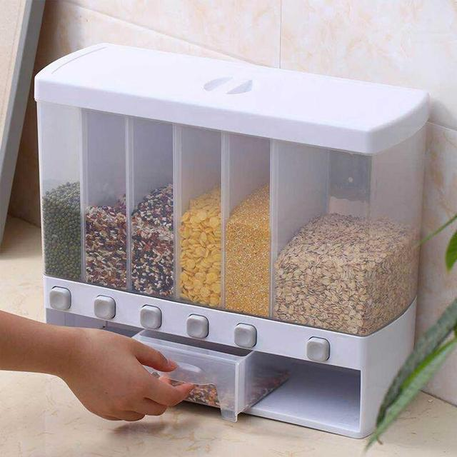 Dry Food Dispenser 6-Grid Cereal Dispensers Food Storage Container Kitchen Storage Tank for Cereal, Rice, Nuts, Snack, Grain
