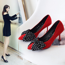 XZ027 Elegant Women Shoes Sexy High Heels Pumps Dress Party OL Pumps Sexy Pointed Toe Women High Heels Lady Polka Dot Bow Pumps xz026 women pumps high heels fashion women shoes sexy women heels lady shoes women sexy pointed toe thin high heels women pumps