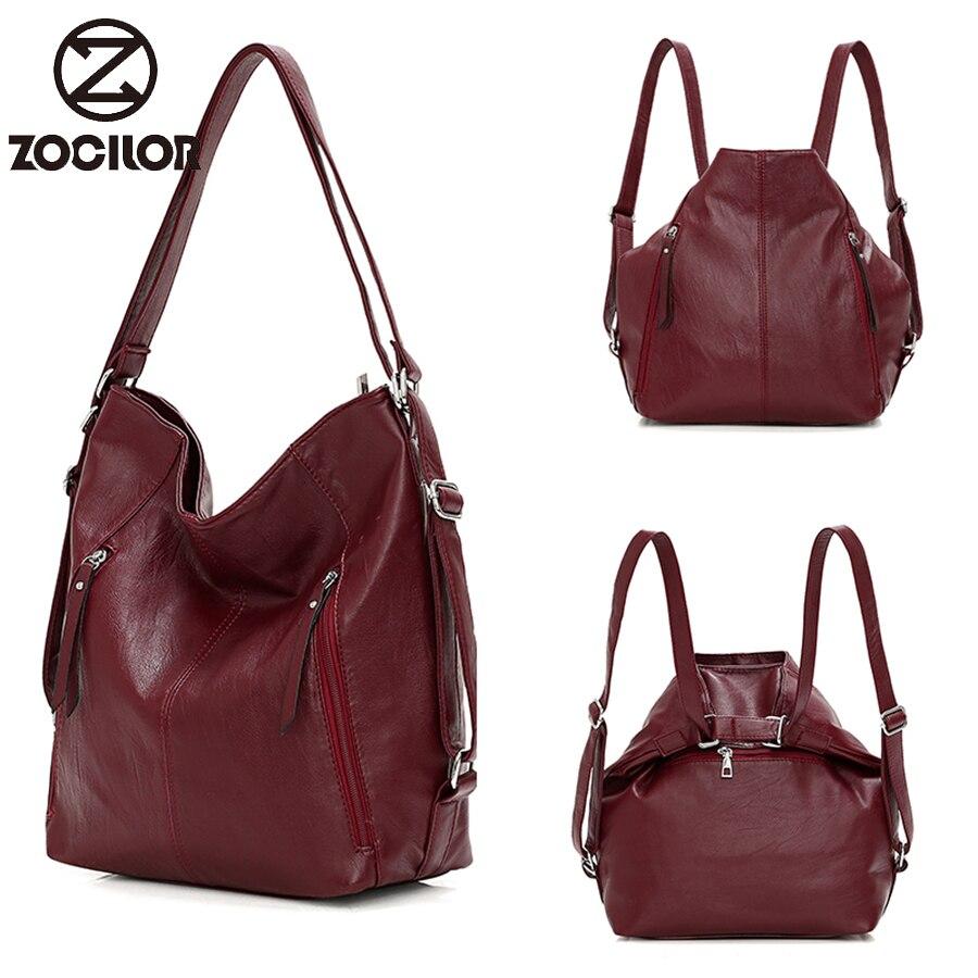 Mochila multifunción para mujer, bolso de hombro de viaje informal, bolso de mujer de moda simple, bolso de cuero de PU, bolsos de diseñador para