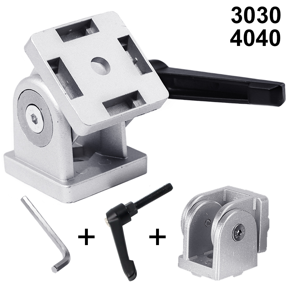 Zinc Alloy Adjustable Living Hinge with Wrench For 3030 4040 Aluminum Profile Right Angle Flexible Pivot  Joint Connector