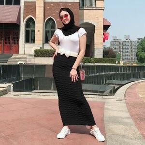 Image 3 - نساء مسلمات طويل Bodycon تنّورة مجسّمة إسلامي تمتد موضة ربيع فستان سهرة حفلة حياكة كاجول سيدات ماكسي تنورة