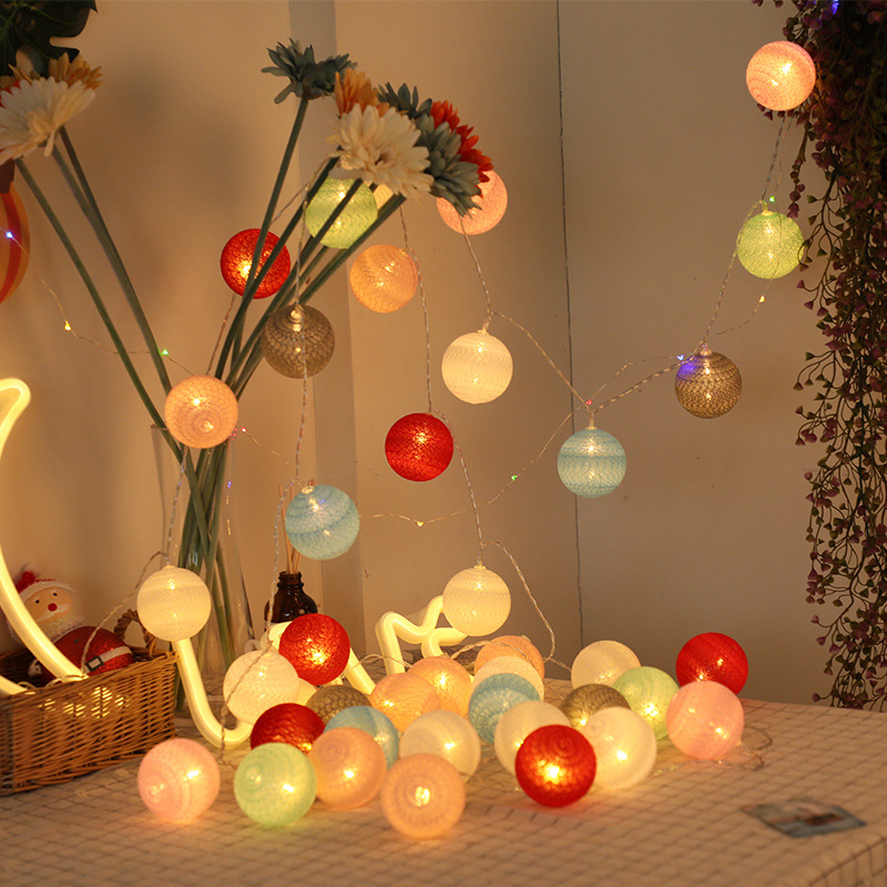 1.5M/3M Led Lanterns Cotton Ball String Lights Christmas Decoration Bedroom Battery Bulbs Macaron Style