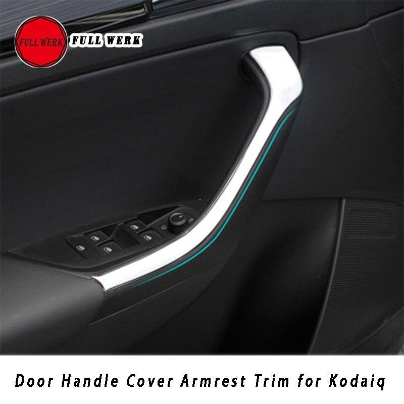 1 par abs maçaneta da porta interior do carro capa braço moldando guarnição adesivo tira para skoda 17-19 kodiaq acessório venda quente decoração