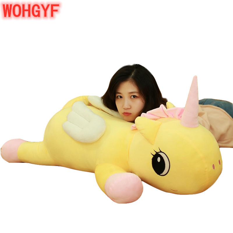 1pc <font><b>85cm</b></font> Cute Unicorn Plush Animals Pillow Stuffed Soft Unicorn Cushion <font><b>Doll</b></font> Toys Birthday Gifts Girls Kids Toys image