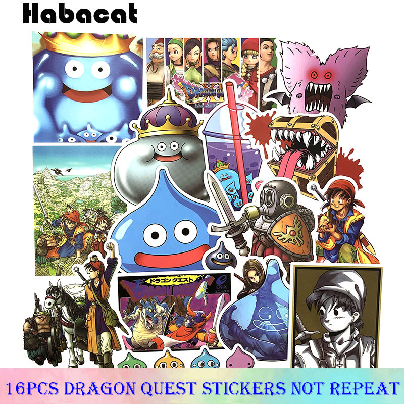 16 Pcs/Pack Cartoon Dragon Quest Game Doodle Sticker For Toy Laptop Bicycle Motorcycle Skateboard Phone Cartoon Stickers