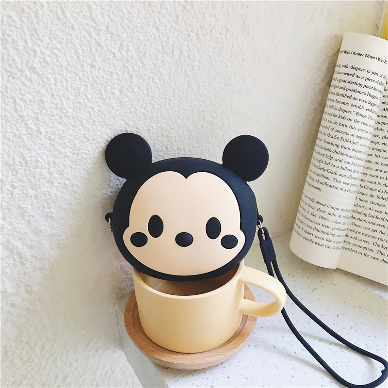 3D Cartoon Soft Silicone Earphone Bag For Girls Kids Gift Women Mini Mickey Mouse Coin Purse Cards Holder Zipper Small Wallets in Earphone Accessories from Consumer Electronics