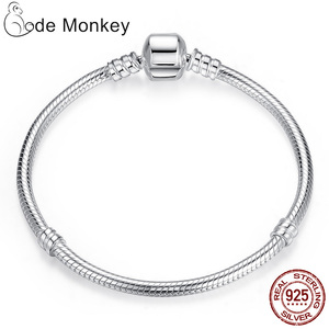 Image 2 - Hot Sale 100% Real  925Silver Bracelet Fit Original Design Beads Charms Bangle DIY Jewelry Making Gift For Women
