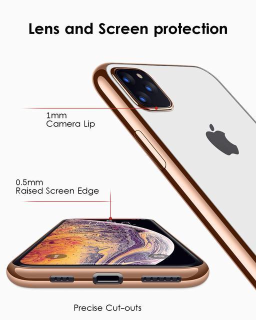 For iPhone 11 Pro Max 11 Pro Case,Ultra Slim Thin Clear Soft Premium Flexible Chrome Bumper Transparent TPU Back Plate Cover