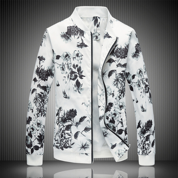 MYAZHOU 2018 Spring Men's Prints Jacket , Plus Size Fashion Youth Jacket ,Summer Men's White Suits Coat  M-5XL 6XL