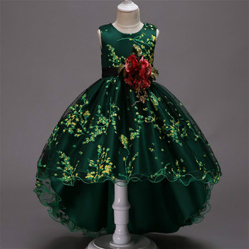 Baby Girls Flower Princess Ball Gown Party Tutu Trailing Dress For Brithday Wedding Kids Christmas Dresses Children Clothing 1