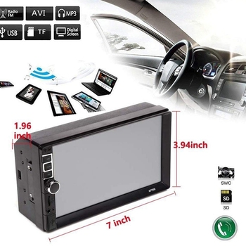 2 Din Car Stereo 7 Inch Press Screen Car Radio Mp5 Player, Support Mirror Link(Ios & Android) Navigation/Fm/Usb/Tf/Swc with Came