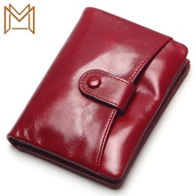 Short Wallet Head Layer Wax Oil Cowhide More Function Hand Small Package
