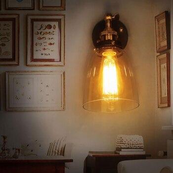 """""""retro lamp"""" φωτιστικό απλίκα τοίχου από γυαλί και μέταλλο"""