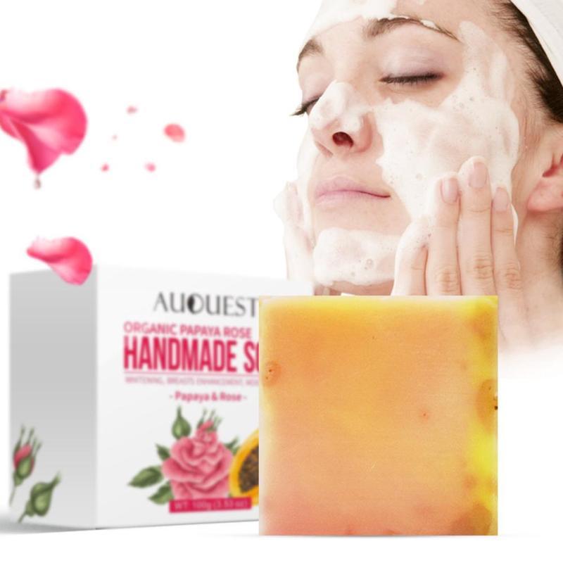 100g Papaya Rose Plant Handmade Essential Oil Soap Botanical Bamboo Charcoal Soap Facial Soap Bath Soap Deep Cleaning Skin Care