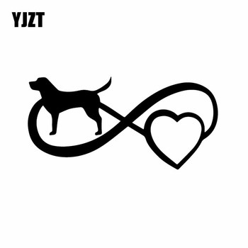 YJZT 16.6X8.2CM Vinyl Decal Basset Hound Boston Pet Dog Car Sticker Decor Black/Silver C24-1170 image