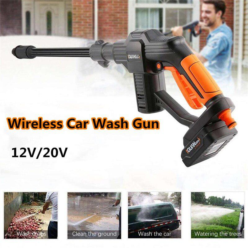 High Pressure Electric Wireless Car Wash Gun 12V/20V Water Gun Mufti-Functional Foam Gun For Garden Watering Car Wash