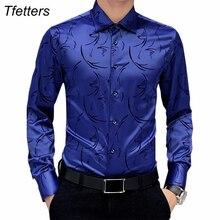 TFETTERS camisas formales para hombres de marca de lujo, camisa de manga larga Floral para hombres, camisa Tuxdeo, camisas de diseño de talla grande 5XL 2020