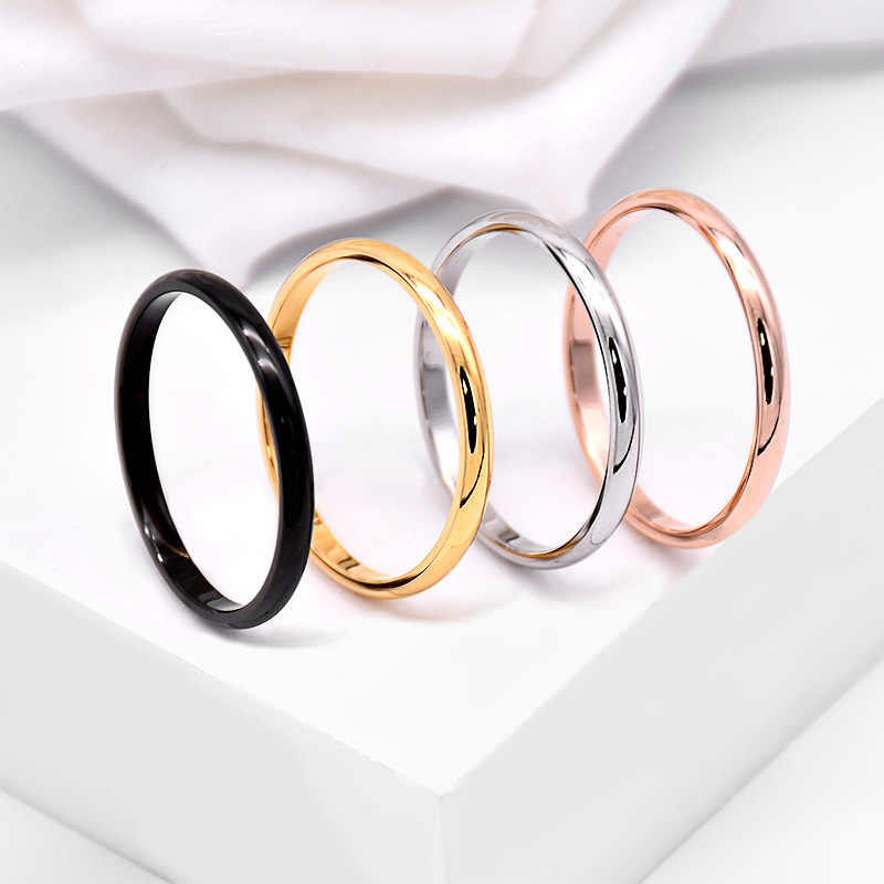 Hot Sell Titanium Steel Rose Unisex Gold Anti-allergy Smooth Simple Wedding Couples Rings