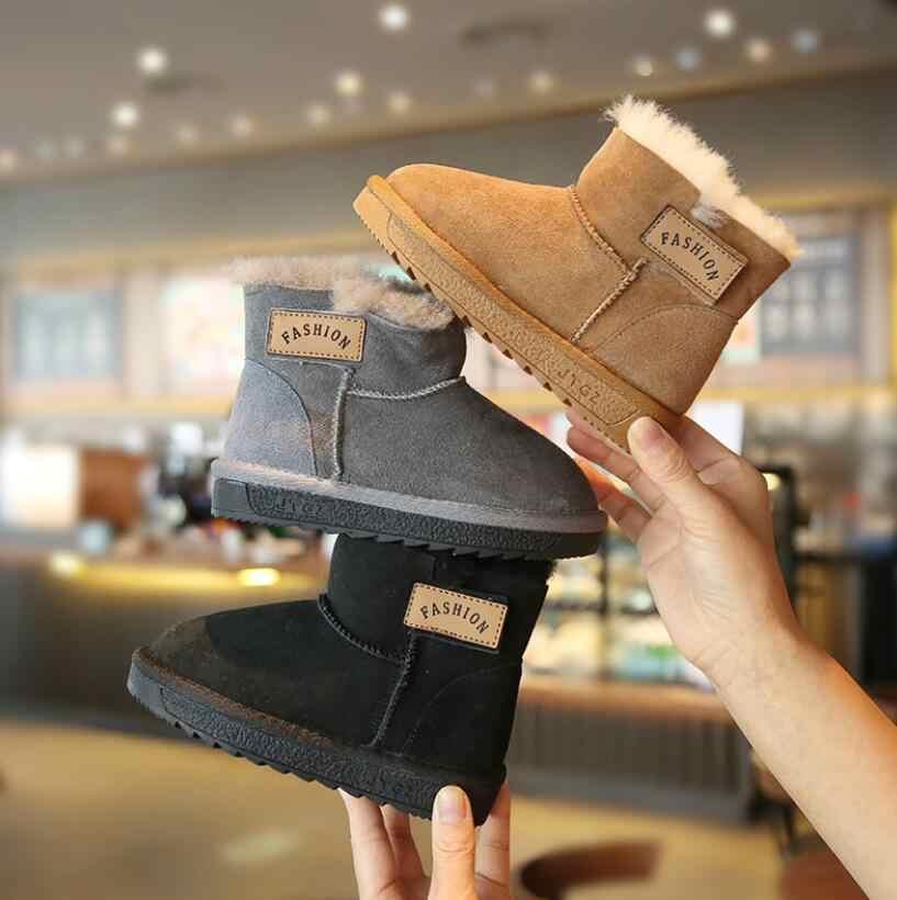 2019 Winter Kids Fur Fashion snow boots thick Child Genuine Leather Shoes Warm Plush Soft Girls Boots Winter ski Boot for Baby
