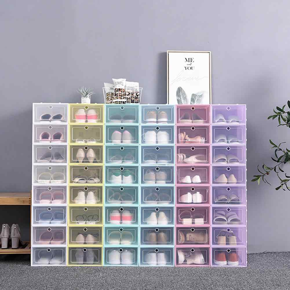 1PCS New Flip-Open Cover Plastic Shoe Storage Box Transparent Stackable Storage Box Shoes Drawer Case Thicken Shoe Box Organizer