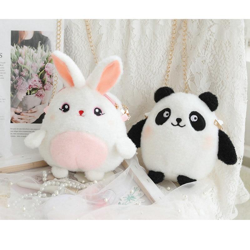 Panda de felpa maquillaje bolso largo oreja de conejo bolsa Super lindo de dibujos animados bolso de animales bolso de niña regalo de cumpleaños para los niños Lote de 8 unidades de figuras de acción de Panda, Panda, Mini modelo de PVC para niños, juguetes de animales para niños, regalos de cumpleaños