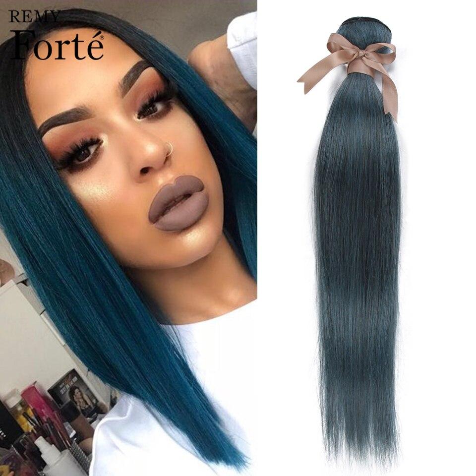 Remy Forte Straight Human Hair Blue Hair Bundles 26 Inch 100% Remy Brazilian Hair Weave Bundles 1/3/4 Bundles Hair Extension