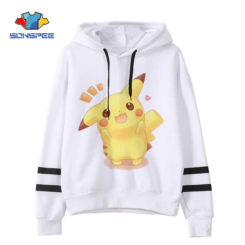 2020 New 3D Pikachu Hoodie Cartoon Anime Pokemon Sweatshirt Boy Girl Cute Fashionable Pullover Streetwear Couple Hoodie Jacket