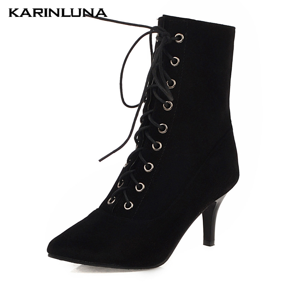 Karinluna Top Quality 2020 Large Size 31 43 Spike Heel Ankle Boots Woman Shoes Lace Up Office Lady Shoes Women Boots Female