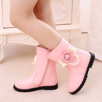Kids Boots 2019 New Princess Fashion Flower Beading Little Girl winter Shoes Big Children Boots 3 4 5 6 7 8 9 10 11 12 Year Old new rivet children s autumn girl ankle boots for kids martin snow fashion waterproof winter shoe 4 5 6 7 8 9 10 11 12 year old