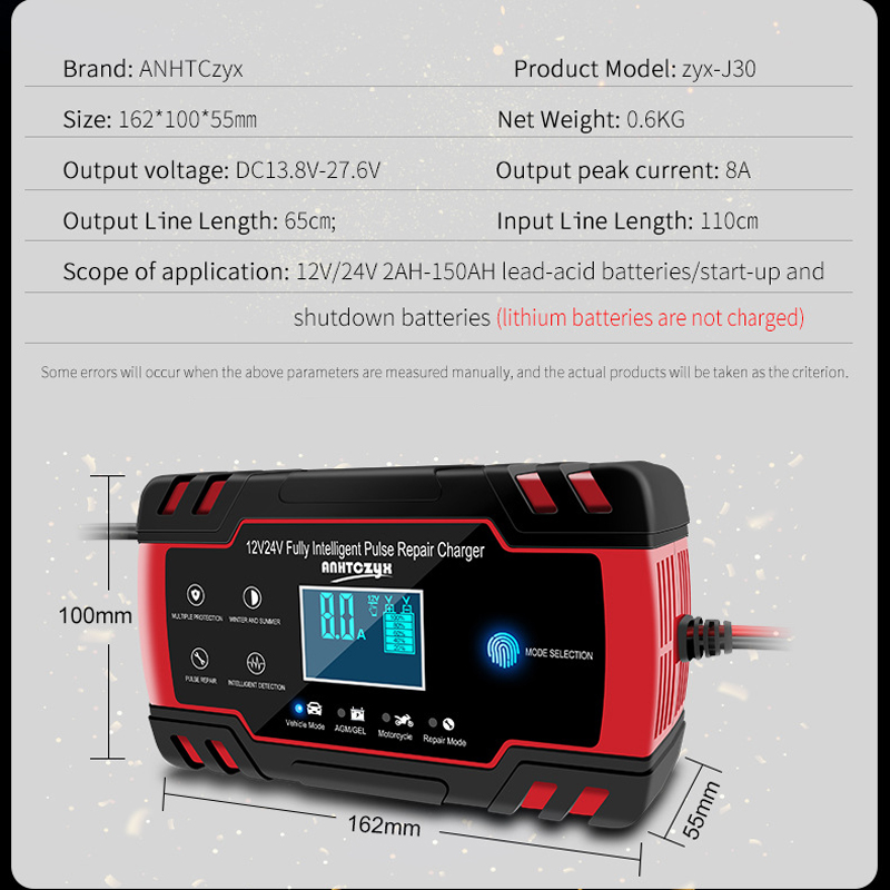Image 2 - Car Battery Charger 12/24V 8A Touch Screen Pulse Repair LCD Battery Charger For Car Motorcycle Lead Acid Battery Agm Gel Wet-in Battery Charging Units from Automobiles & Motorcycles