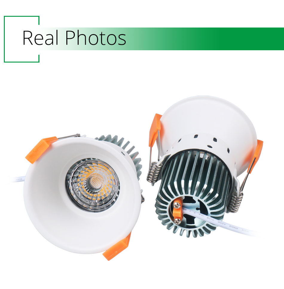 12W 85-265V AC Ceiling Light White Aluminnum Indoor Lighting Led downlight Dimmable COB Spot Lamp Knob Switch Foyer Spotlights (4)