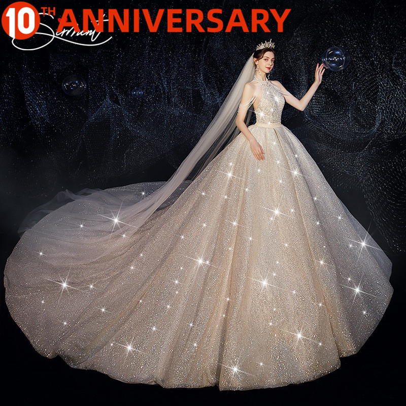 OllyMurs Gorgeous Sequined Fringed Halter Wedding Dress Exclusive Private Bespoke 150cm Tail Wedding Dress  Tail