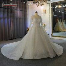 Ciężki frezowanie suknia ślubna z długimi rękawami off biały kolor niestandardowe zamówienie wysokiej jakości suknia ślubna