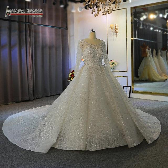 Heavy beading long sleeves wedding dress off white color custom order high quality bridal dress