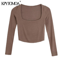 KPYTOMOA – T-Shirt tricoté à col carré pour femme, haut Chic à la mode, coupe ajustée, court, Vintage, manches longues, hauts