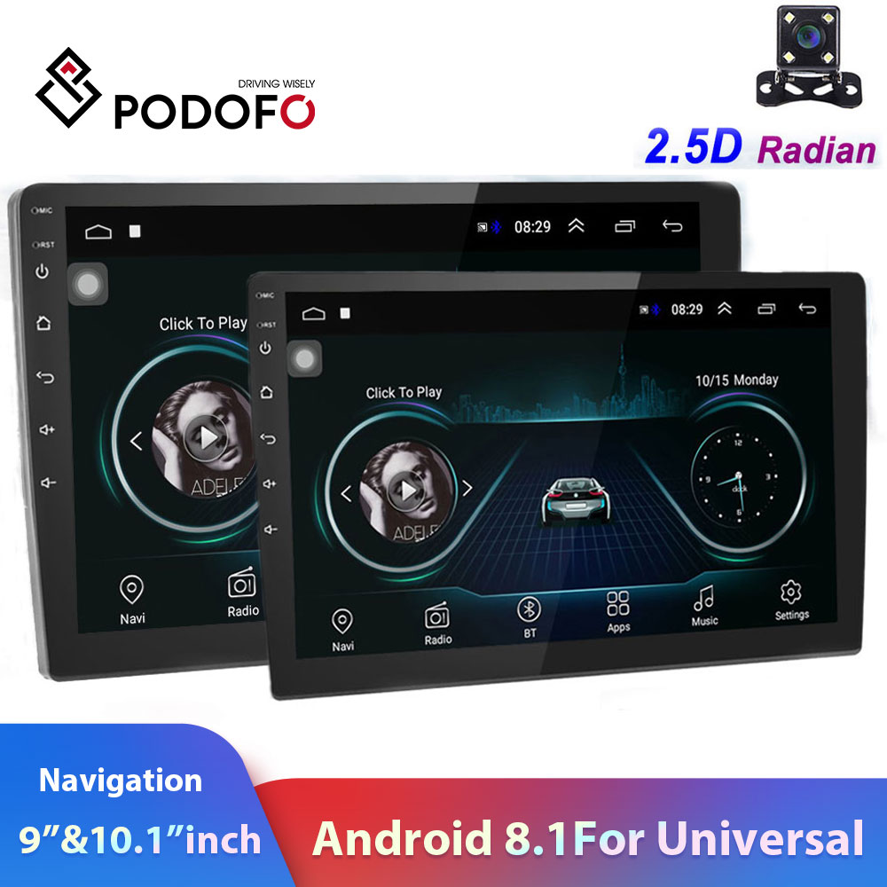 Podofo 2din car radio 10.1inch Android8.0 system Auto stereo 2.5D Screen Bluetooth WIFI GPS Quad Core 1+16grom For Universal image