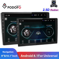 Podofo 2din car radio 10.1inch Android8.0 system Auto stereo 2.5D Screen Bluetooth WIFI GPS Quad Core 1+16grom For Universal