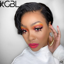 KGBL 13*4 Pixie Short Bob Lace Front Human Hair Wigs 8'' 150% 180% Density Brazilian Non-Remy Medium Ratio For Black Women(China)