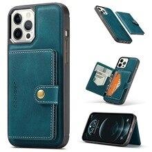 Capa traseira para iphone 12 11 pro max xs xr x se 2020 8 7 plus suporte de cartão de couro wiht bolsa de carteira destacável magnética